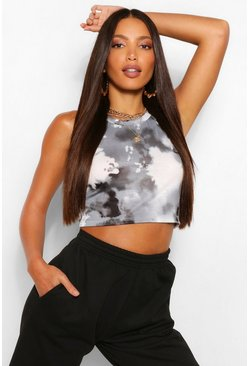 Black Tall Tie Dye Racer Singlet Top