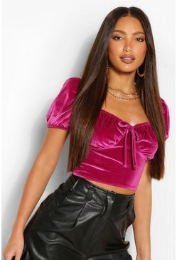 Pink Tall Velvet Peasant Crop Top