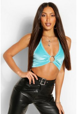 Blue Tall Velvet O-Ring Halterneck Crop Top