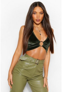 Green Tall Velvet O-Ring Halterneck Crop Top
