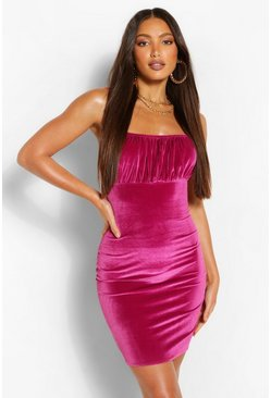 Pink Tall Velvet Gathered Bust Bodycon Mini Dresss