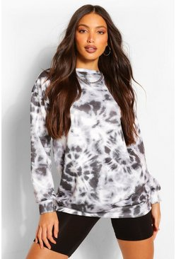 Black Tall Tie Dye Oversized Sweater