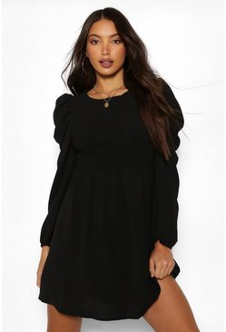Black Tall Woven Shirred Puff Sleeve Dress