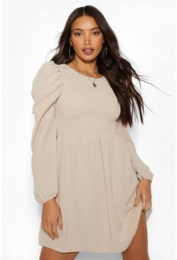 Stone beige Tall Woven Shirred Puff Sleeve Dress