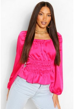Bright pink pink Tall Satin Volume Sleeve Shirred Blouse