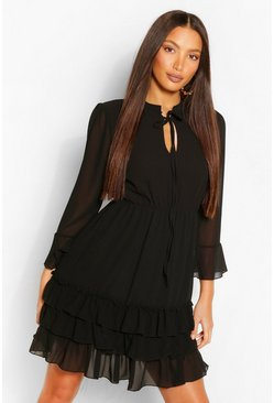 Black Tall Woven Ruffle Tiered Skater Dress