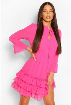 Bright pink pink Tall Woven Ruffle Tiered Skater Dress
