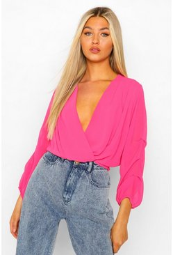 Bright pink Tall Woven Wrap Over Ruched Sleeve Blouse