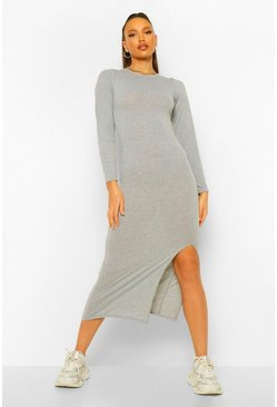 Grey Tall Jersey Long Sleeve Side Split Midaxi Dress