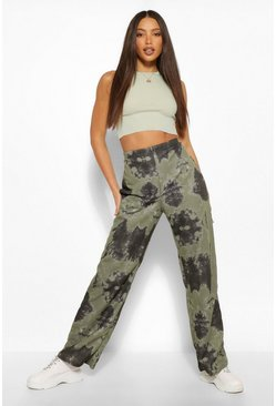 Green Tall Tie Dye Wide Leg Joggers
