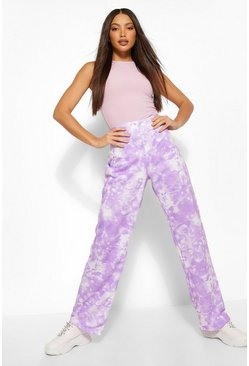 Lilac purple Tall Tie Dye Wide Leg Joggers