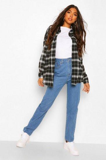 Blue Tall Turn Up Cuff Mom Jeans
