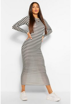 Black Tall Basic Stripe Long Sleeve Midaxi Dress