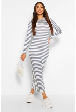 Grey Tall Basic Stripe Long Sleeve Midaxi Dress