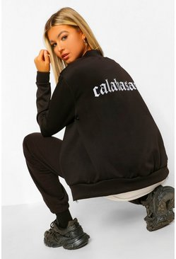 Black Tall 'Calabasas' Slogan Bomber Jacket