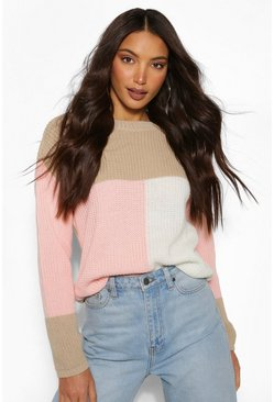 Blush pink Tall Colour Block Knitted Sweater