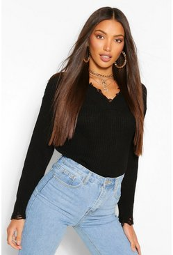 Black Tall Raw Hem V Neck Knitted Sweater
