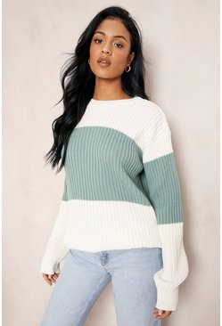 Green Tall Colour Block Knitted Sweater