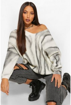 Black Tall Tie Dye Ombre Knitted Oversized Jumper