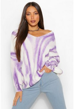 Lilac purple Tall Tie Dye Ombre Knitted Oversized Jumper