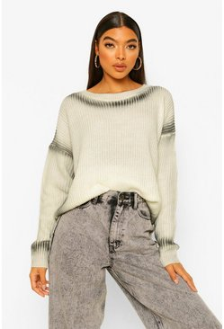 Black Tall Tie Dye Ombre Knitted Crop Jumper