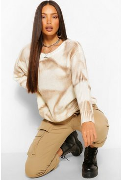Tan brown Tall Tie Dye Knitted Jumper