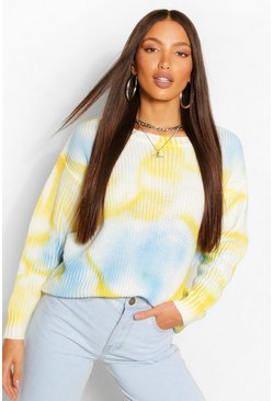 Yellow Tall Tie Dye Knitted Jumper