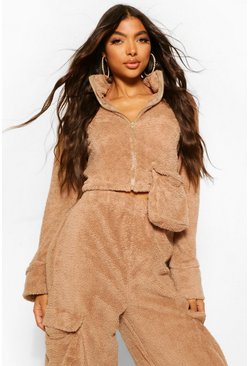 Brown Tall Teddy Pocket Zip Through Crop Sweater