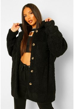 Black Tall Longline Teddy Shacket