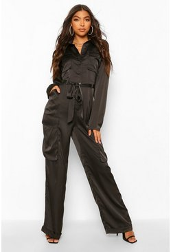 Black Tall Utility Luxe Cargo Jumpsuit