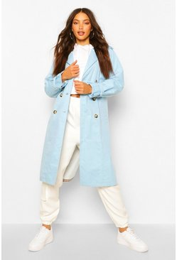 Blue Tall Utility Luxe Contrast Check Print Trench Coat