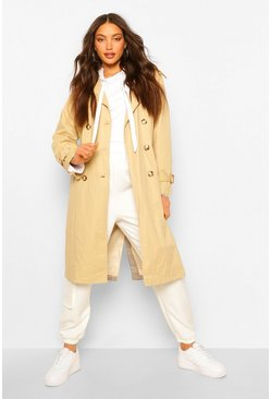 Stone beige Tall Utility Luxe Contrast Check Print Trench Coat