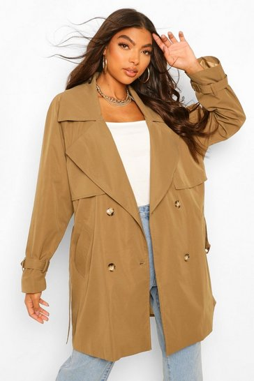 Khaki Tall Utility Luxe Trench Coat
