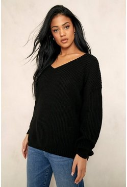 Black Tall V-Neck Longline Jumper