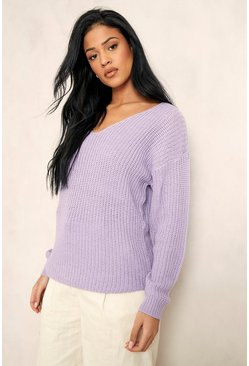 Lilac purple Tall V-Neck Longline Sweater
