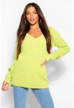 Lime green Tall V-Neck Longline Jumper