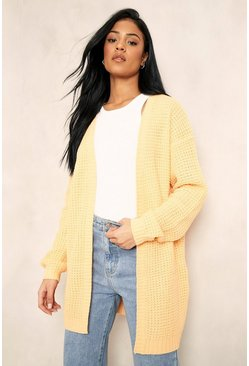 Apricot nude Tall Edge To Edge Waffle Knit Cardigan