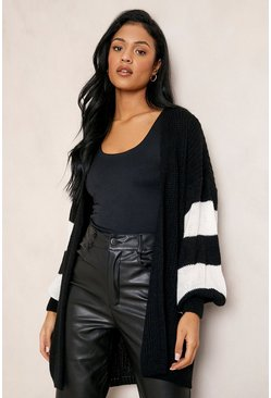 Black Tall Stripe Balloon Sleeve Cardigan