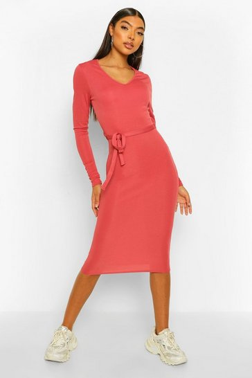 Rose pink Tall Rib Long Sleeve Belted Midi Dress