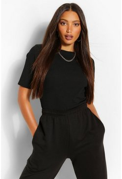 Black Tall Rib Round Neck T-Shirt