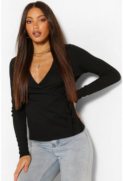 Black Tall Rib Wrap Over Long Sleeve Top