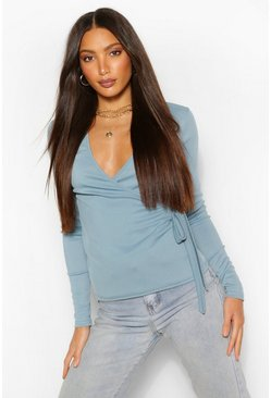 Blue Tall Rib Wrap Over Long Sleeve Top