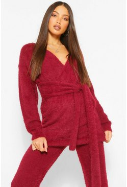 Berry red Tall Premium Fluffy Knit Tie Wrap Cardigan
