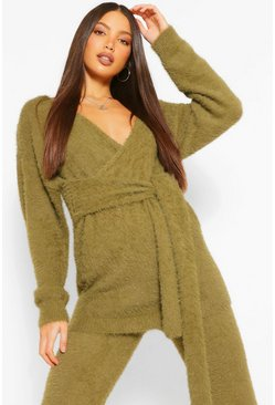 Khaki Tall Premium Fluffy Knit Tie Wrap Cardigan
