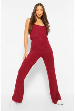 Berry Tall Premium Fluffy Crop Top and Trousers Co-Ord