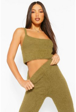 Khaki Tall Premium Fluffy Crop Top and Trousers Co-Ord