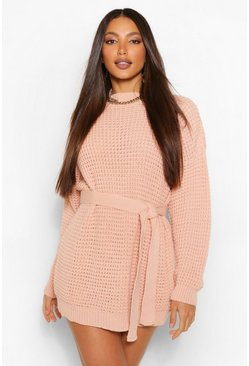 Blush pink Tall Waffle Knit Belted Sweater Dress