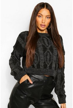 Black Tall Knitted Detailed Jumper
