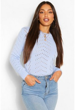Blue Tall Fisherman Knit Cropped Jumper