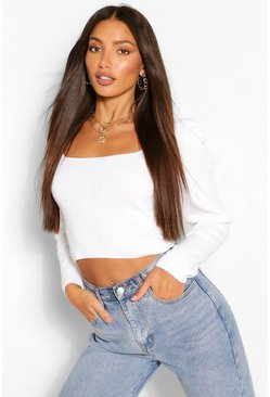 White Tall Puff Sleeve Knitted Crop Top